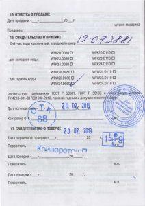 Пример паспорта счетчика
